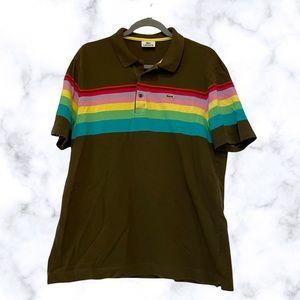 Lacoste 6 medium rainbow polo Henley brown mens short sleeve tee 100% cotton